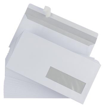 Gallery enveloppen ft 110 x 220 mm, venster rechts, stripsluiting, doos van 500 stuks