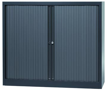Bisley roldeurkast, ft 103 x 120 x 43 cm (h x b x d), 2 legborden, antraciet