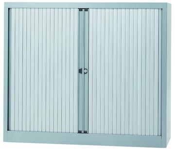 Bisley roldeurkast, ft 103 x 120 x 43 cm (h x b x d), 2 legborden, zilverkleurig