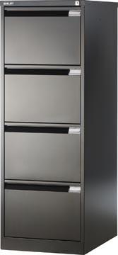 Bisley hangmappenkast, ft 132,1 x 47 x 62,2 cm (h x b x d), 4 laden, zwart