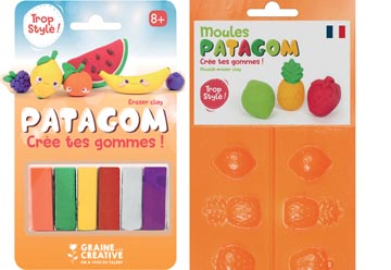 Graine Créative Patagom boetseerklei om te gommen, koffertje met 12 kleuren