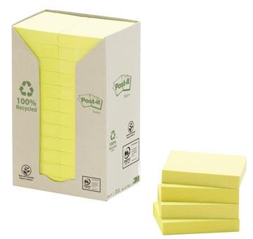 Post-it Notes gerecycleerd, ft 38 x 51 mm, geel, 100 vel, pak van 24 blokken