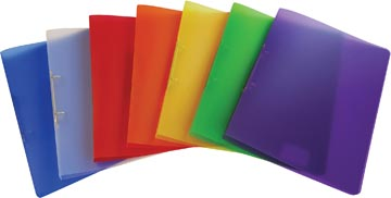 Alpha ringmap, voor ft A4, uit PP, 2 ringen van 16 mm, geassorteerde transparante kleuren
