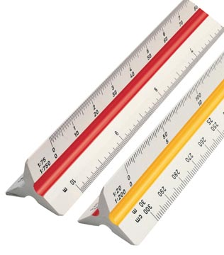 rotring driekantige schaallat 1:20, 1:25, 1:50, 1:75, 1:100 en 1:125