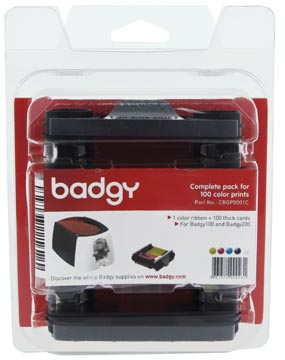 Pakket van 1 x kleurenlint en 100 blanco kaarten van 0,76 mm voor Badgy100 of Badgy200