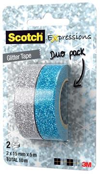 Scotch Expressions glitter tape, 15 mm x 5 m, blister met 2 stuks in geassorteerde kleuren