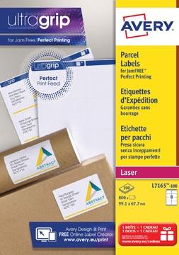 Avery L7165, Verzendetiketten, Laser, Ultragrip, wit, 100 vellen, 8 per vel, 99,1 x 67,7 mm
