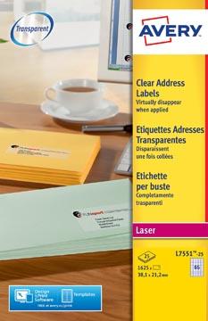 Avery L7551-25 adresetiketten ft 38,1 x 21,2 mm (b x h), 1.625 etiketten, transparant